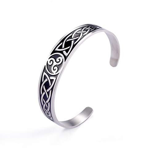 fishhook Nordic Viking Symbol Celtic Design Irish Knotwork Triskele Stainless Steel Wristband Bangle Bracelet for Women Men (Black, Triskelion)