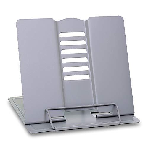sinzau Atril de lectura portátil multifuncional de metal con 6 niveles ajustables, para cocina y oficina, color gris