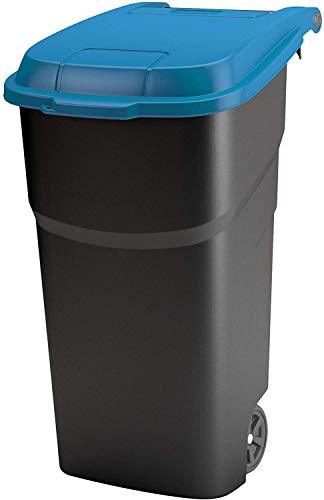 Rotho Atlas Mülltonne 100l mit Deckel und Rollen, Kunststoff (PP) BPA-frei, schwarz/blau, 100l (59,0 x 51,0 x 92,0 cm)