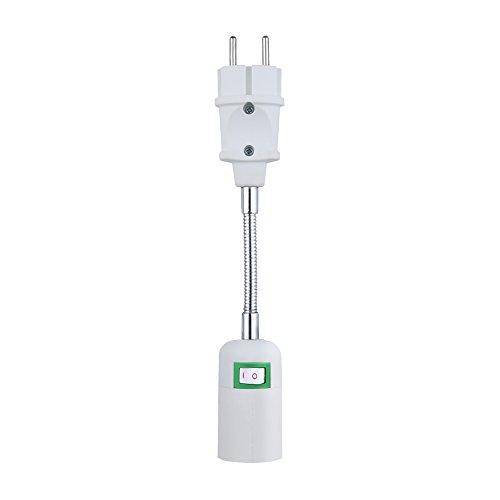 E27 Sockel Lampenfassung Lampensockel Steckdose Konvert Adapter Netzteil in der europäischen Normsteckdose universal einstellbar mit Schalter