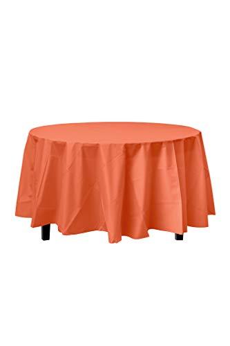 6-Pack Premium Plastic Tablecloth 84in. Round Plastic Table Cover - Orange