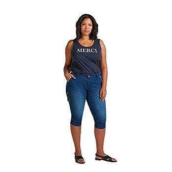 Zizzi Damen Capri Jeans 3/4 Caprihose mit Stretch
