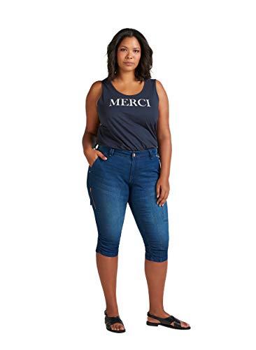 Zizzi Damen Capri Jeans 3/4 Caprihose mit Stretch Hose Große Größen -Blau-48