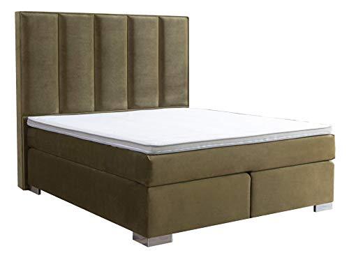 Aukona International, Cleopatra boxspringbed, groen, 7-zones pocketvering, met comfort, topper, gratis levering en opbouw, boxspringbedden, hotelbed, tweepersoonsbed
