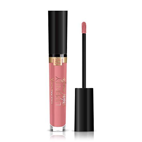 Max Factor Lipfinity Velvet Matte Posh Pink 45 – Liquid Lippenstift mit mattem Finish in intensivem Altrosa – Mit pflegendem Kokosöl – Hält bis zu 24 Stunden