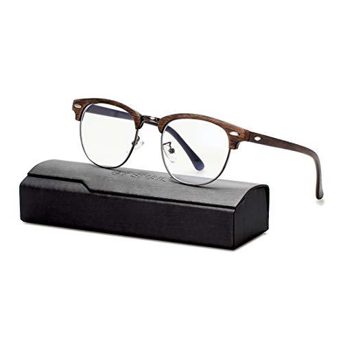GY snail Blue Light Blocking Glasses Men &Women, Round Computer Semi Rimless Clear Lens, Anti Eyestrain Sleep Better (Brown Wood Grain Frame)