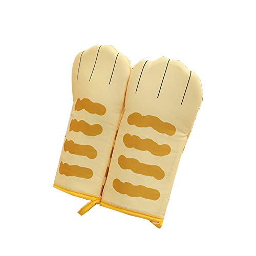 Puyong Cute Cartoon Oven Mitts, Soft Cotton Lining Oven Mitts with Non-Slip Surface, Protecting Fingers Gloves for Baking Cooking BBQ,Yellow
