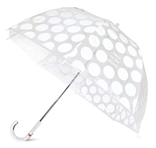 Kate Spade New York Clear Bubble Umbrella, Large Transparent Dome Umbrella, Heads in the Clouds Jumbo Dot
