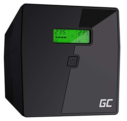 Green Cell® Gruppo di continuità UPS Potenza 1000VA (700W) 230V Alimentatore protezione da sovratensioni line interactive AVR Onda sinusoidale pura USB/RJ45 2X Schuko 2X IEC Uscite con Display LCD