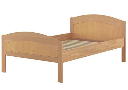 Erst-Holz® Massivholzbett geschwungenes Seniorenbett Buche Natur 120x200 Bettgestell mit Rollrost 60.75-12