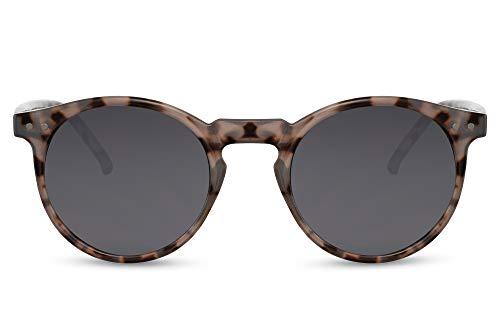 Cheapass Gafas de sol Sunglasses con montura redonda de leopardo gris brillante con lentes oscuros con protección UV400, moda vintage para hombre y mujer