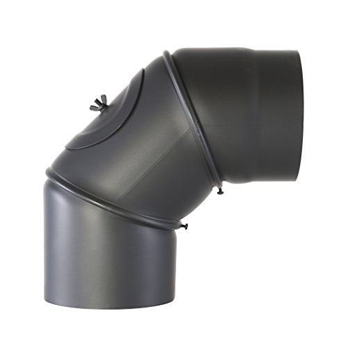 Kamino Flam Uni-Knie schwarz mit Tür, verstellbarer Winkel von 90° - 180°, Abgasrohr aus Stahl mit hitzebeständiger Senotherm® Beschichtung, geprüft nach Norm EN 1856-2, Durchmesser: ca. 150 mm