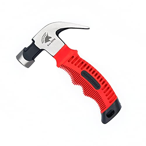 Monoceros Claw Hammer Mini Hammer High-carbon Steel Stubby Hammers Anti-Slip Handle Magnetic Head (8oz Red)