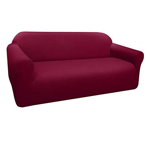 Granbest Funda de Sofá Elástica Súper Gruesa con Diseño Elegante Universal Funda Sofá 3 Plaza Antideslizante Protector Cubierta de Muebles (3 Plaza, Rojo Vino)