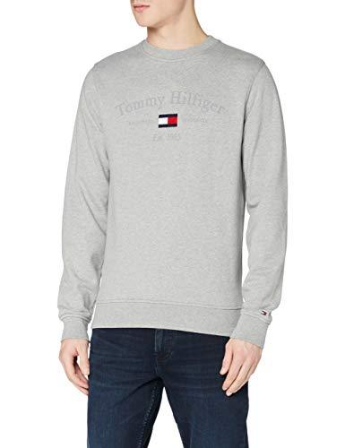 Tommy Hilfiger Arch Artwork Sweatshirt Maglione, Medium Grey Heather, L Uomo