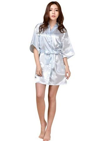Frauen Seidensatin kurze Nacht Robe Kimono Robe Mode Bad Robe Sexy Bademantel Peignoir Femme Hochzeit Braut Brautjungfer Robe -light blue-1-M