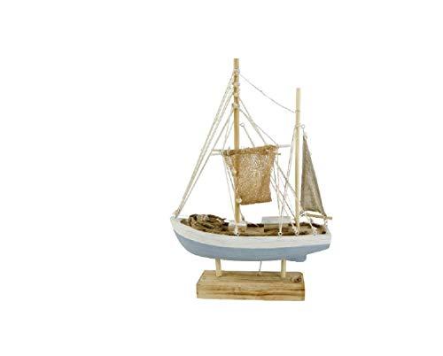 Bavaria Home Style Collection Decoratieve figuur visboot boot schip met LED ca. 41 x 28 x 10 cm decor, grenenhout grappig, grappige decoratie voor de badkamer - Deco Wellness - woonkamer