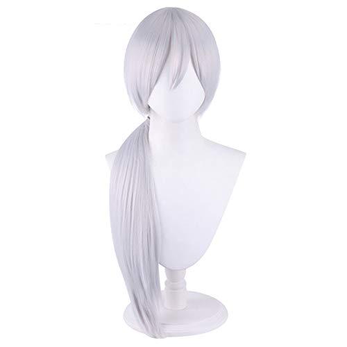 Quanxi Chainsaw Man Cosplay peluca con flequillo largo plata blanca para Halloween disfraz fiesta