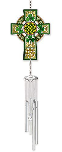 Amia Celtic Cross Glass Wind Chime Windchime, Multicolored