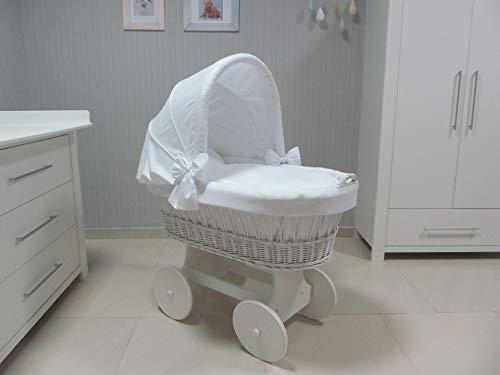 ComfortBaby 00071311-88WX Snuggly Baby Stubenwagen mit Moskitonetz - komplette 'all inclusive' Ausstattung - Zertifiziert & Sicher (Weiß-Weiß)