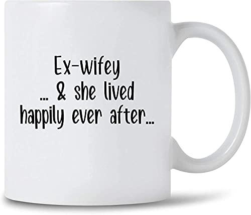 N\A Ex-Wifey & She Lived Happily Ever After Taza de café Divorcio Celebración Regalo Taza de café Divorcio Fiesta Taza de cerámica, 11 oz