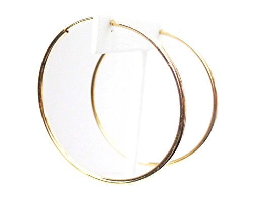 Clip-on Earrings Gold Tone Hoop Earrings Simple Thin 2.25 inch Hoop