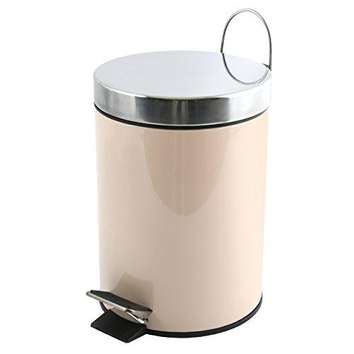 MSV Kosmetikeimer Beige Mülleimer Treteimer Abfalleimer - 3 Liter – mit herausnehmbaren Inneneimer