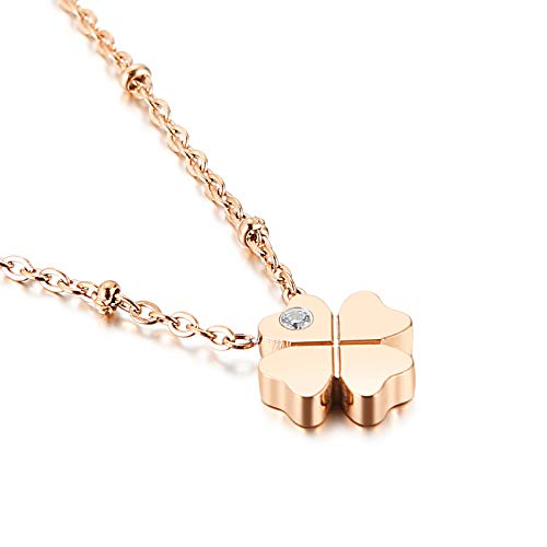 Qings Lucky Four Leaf Clover Necklace Women Girls Stainless Steel Rose Gold Dainty Tiny Heart Pendant Necklace (Rose Gold)