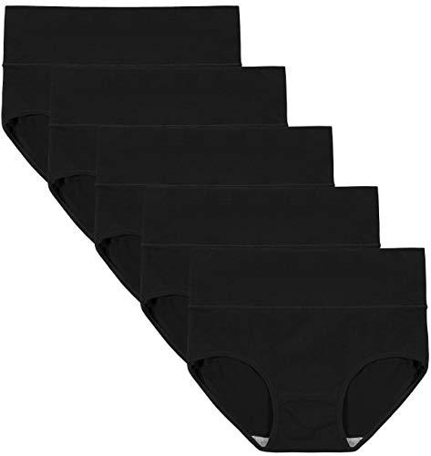 INNERSY Unterhosen Damen Schwarz Baumwolle Slips Frauen Bauch Weg Unterwäsche 5er Pack (L, Schwarz)