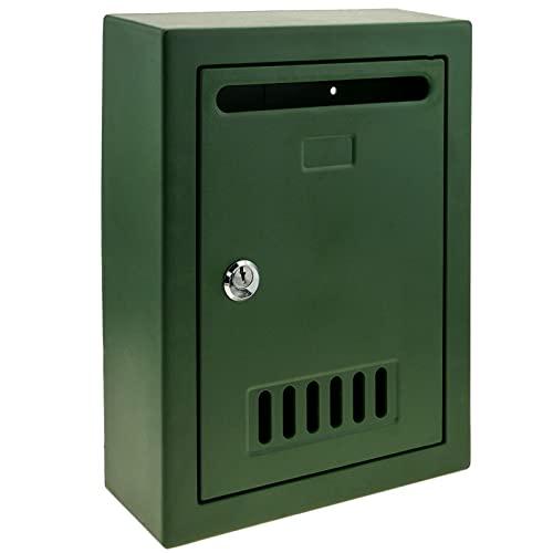 PrimeMatik - Cassetta delle Lettere in plastica. Casella Postale e Posta di Colore Verde da Parete 205x80x273mm