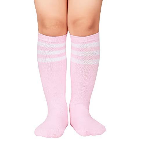 Durio Kids Soccer Socks Cotton Sports Socks Knee High Tube Socks for Boys and Girls Pink w White