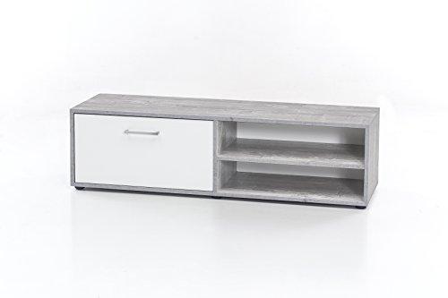 WILMES Lowboard mit 1 Klappe, Spanplatte, Melamin Dekor Beton/weiß, 120 x 37 x 34 cm