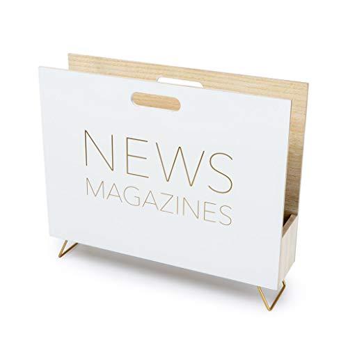 balvi Zeitschriftenständer Farbe weiß Für Zeitschriften, Kataloge und Tageszeitungen Mit Griff DM-Holz