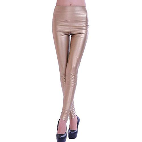 Pantalones De Cuero Damas De Cintura Calzas Colores Stretch Sólidos Alta Polainas...