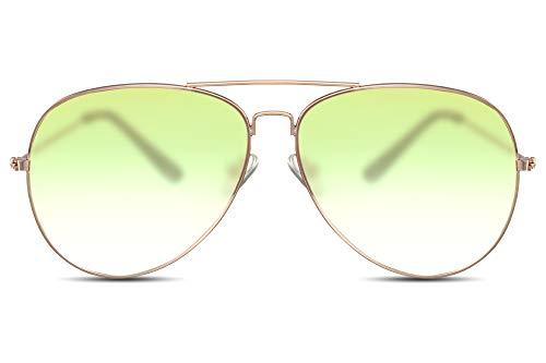 Cheapass Gafas de Sol Gafas Piloto Doradas Metálicas Cristales Translúcidos Verde Oliva Hombre Mujer