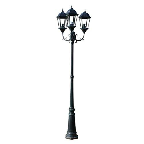 Tuinlantaarn Brighton 3-arms 230 cm donkergroen/zwart