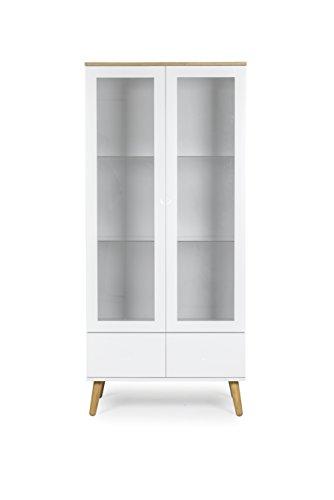 tenzo 1670–454 DOT Designer Vitrine 2 portes, 2 tiroirs, blanc, Structure Façades en MDF Laqué. Plateau du dessus en panneaux de particules placage chêne, 178,5 x 79 x 43 cm (HxLxP)