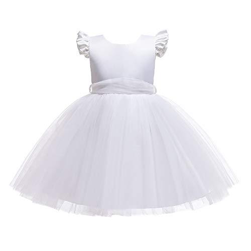 IEFIEL Vestido Princesa de Fiesta Boda para Niña Vestido Elegante de Dama de Honor Vestido Balnco de Bautizo Traje Cóctel de Ceremonia Blanco 5-6 años