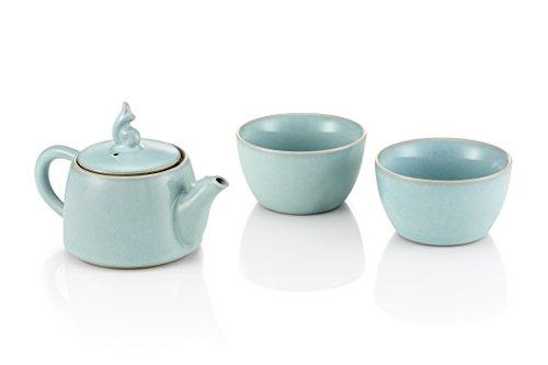 Tea Soul B6021249 Théière et 2 Tasses Porcelaine Bleu 200 ml