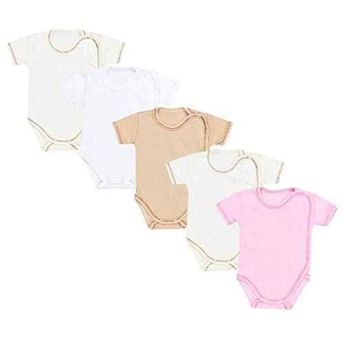 TupTam Unisex Baby Kurzarm Wickelbody 5er Pack, Farbe: Mädchen 2, Größe: 74