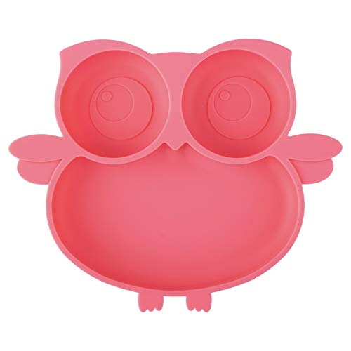 Kirecoo Owl Silicone Suction Plate - Self Feeding Training Storage Divided Plate, Baby Toddler Bowl and Dish, Fits for Most Hairchairs Trays, Microwave Dishwasher Safe (Pink)