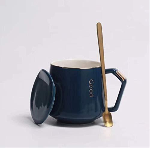 N YU QI Taza De Agua Ligera Taza De Café De Alta Gama Taza De Cerámica con Tapa 401-500ml Zar Cup Royal Blue + Cuchara de Cubierta