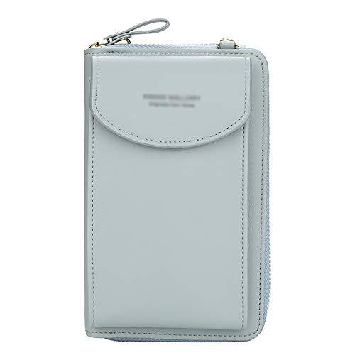 Crossbody Tasche Handy Geldbörse für Damen, große Kartenfächer, Handtasche,Multifunktions-Clutch mit Reißverschlusstasche (Hellblau)
