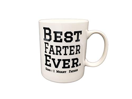 Coffee Tea Mugs for Father Funny Mugs Coffee Cups for Dad ,White 12 Oz -Best Farter Ever