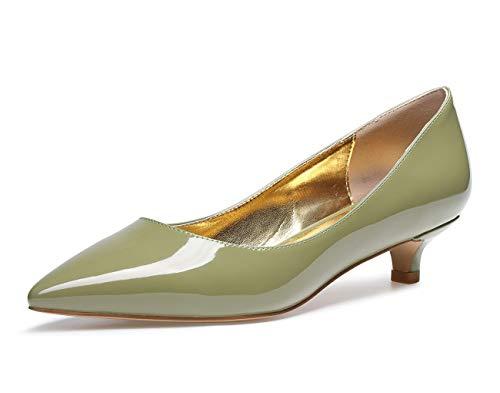CASTAMERE Zapatos de Tacón Mujer Sexy Medio Mini Tacón Tacón de Aguja 3CM Verde Charol Zapatos EU 42