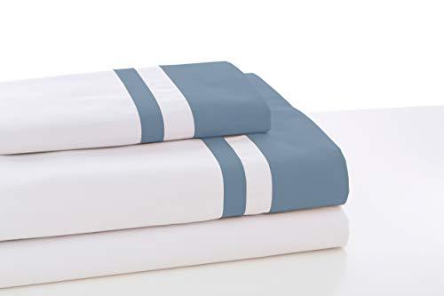 ESTELIA - Juego de sábanas Marbella Color Blanco-Azul - Cama de 150 (4 Piezas) -100% algodón - 300 Hilos