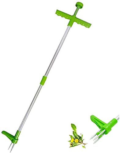 Standing Plant Root Remover, Manual Weeders Stand-Up Weeder with 3 Claws and High Strength Foot Pedal, Weed Trimmer for Garden, Yard, Lawn