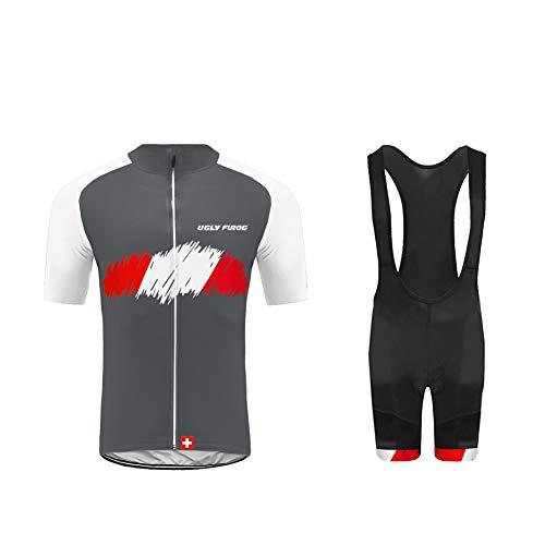 Uglyfrog Jersey Uomo Body Magliette + Salopette Completo Maglia Ciclismo Estivo per Uomo alla Moda Maniche Corte + Pantaloncini Corti