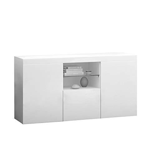 Panana Sideboard Modern Living Room Cupboard Unit Cabinet Furniture LxDxH 135x34x70cm (White)