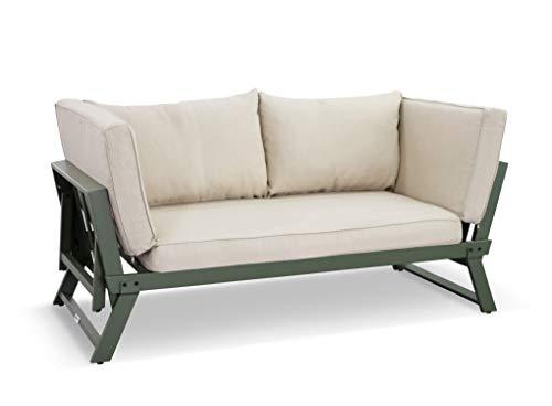 LANTERFANT – Loungebank Lars, Gartenbank, Modular, erhältlich in Zwei Farben, Grün, Moosgrün, Ecru